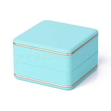 Square Plastic Jewelry Ring Boxes, with Velvet, LED Light, and Copper Wire, Pale Turquoise, 6.5x6.5x4.2cm(OBOX-F005-03A)