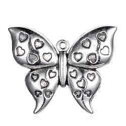 Pendentifs en alliage de style tibétain, papillon, argent antique, 35x42x5mm, Trou: 2mm(PALLOY-G131-09AS)