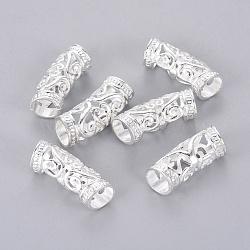 alliage courbées perles de tube, creux, argent, 26x10.5x9 mm, trou: 7 mm(PALLOY-J154-56S)