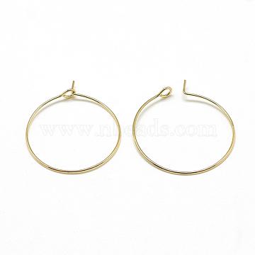 Brass Hoop Earrings, Ring, Real 18K Gold Plated, 20 gauge, 29x25mm; Pin: 0.8mm(X-KK-T032-005G)