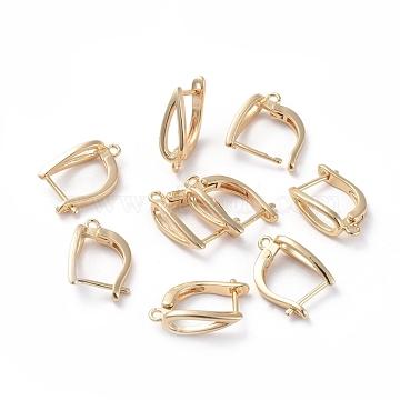 Accessoires de boucle d'oreilles en laiton, avec boucle, Plaqué longue durée, larme, véritable plaqué or, 16.5x10.5x5mm, trou: 1.2 mm; broches: 0.8 mm(KK-L180-113G)