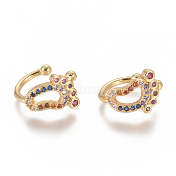 Golden Plated Brass Micro Pave Cubic Zirconia Cuff Earrings, Long-Lasting Plated, Feet, Colorful, 11x12x1.5mm(EJEW-L244-27G)