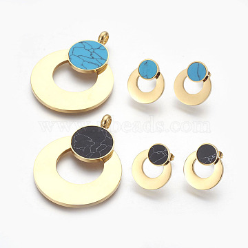 304 Stainless Steel Pendants and Ear Studs Jewelry Sets, with Synthetic Turquoise, Flat Round, Mixed Color, Golden, 47x35x4mm, Hole: 3.5mm; 19x16x4mm, Pin: 0.6mm(SJEW-F184-05G)