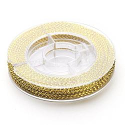 Braided Non-Elastic Beading Cord Wire, Goldenrod, 0.6mm, about 10m/roll(X-EW-N001-05)