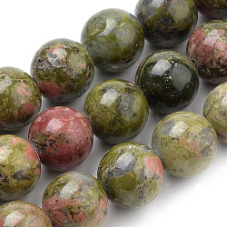 Natural Unakite Beads Strands, Round, 6mm, Hole: 1mm; about 60~62pcs/strand, 15.7