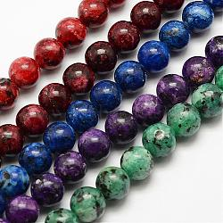 Natural Labradorite Beads Strands, Dyed & Heated, Round, Mixed Color, 8mm, Hole: 1mm; about 44pcs/strand, 15.3''(39cm)