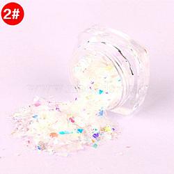 Flocons de coquille de couleur bonbon, manucure nail art décoration, paillettes pour ongles, blanc, 3x1.5 cm(MRMJ-L001-27B)