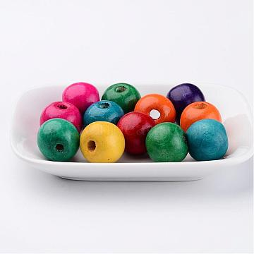 19mm Mixed Color Round Wood Beads