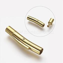 304 fermoirs à baïonnette en acier inoxydable, Tube, or, 22.5x4x5 mm, trou: 3 mm et 4 mm(STAS-G108-01G)