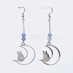 alliage boucles d'oreilles dangle, avec des perles d'aigue-marine naturelles et des crochets en laiton, lune avec chat, 90~91 mm; broches: 0.6 mm(EJEW-JE02490-04)