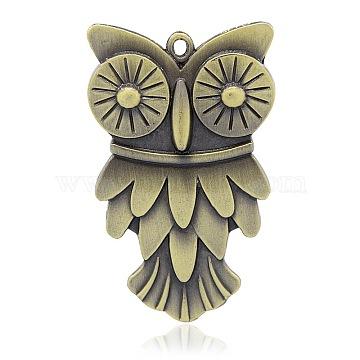 Antique Bronze Owl Alloy Big Pendants
