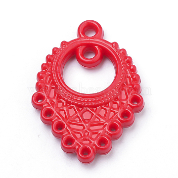 Opaque Acrylic Links, Red, 35x25x5mm, Hole: 1~2.5mm(X-SACR-Q190-36B)