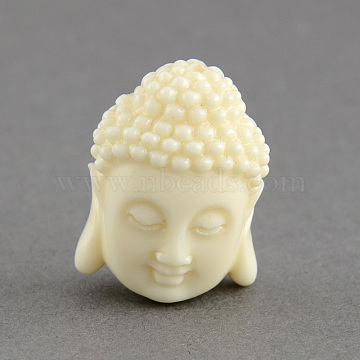 Synthetic Coral Beads, Dyed, Buddha Head, White, 15.5x11x6mm, Hole: 1.5mm(X-CORA-S003-15mm-01)