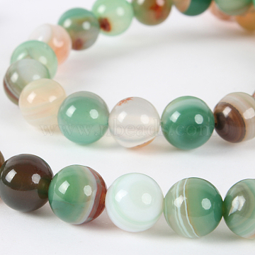 8mm DarkSeaGreen Round Natural Agate Beads