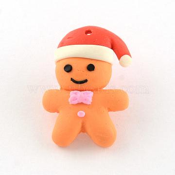 Handmade Polymer Clay Pendants, Christmas, Gingerbread Man, Coral, 27x19x7mm, Hole: 1mm(X-CLAY-R060-35)