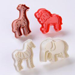 Emporte-pièces en plastique, moules à biscuits, outil de cuisson biscuit, girafe et lion et éléphant et zèbre, couleur aléatoire simple ou couleur mélangée aléatoire, 47~65.5x40~56x17.5~43.5 mm; 4 pcs / set(DIY-E018-44)