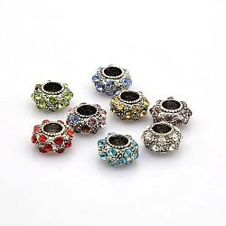 Millésime grand trou argent antique alliage pavé strass rondelle perles européennes de chaînes de serpent ajustement, couleur mixte, 11x6mm, Trou: 5mm