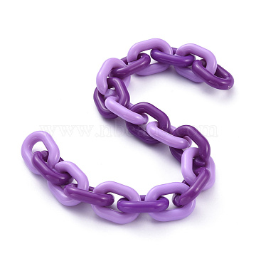 Handmade Acrylic Cable Chains, Purple, Links: 19x14x4mm; 39.37 inches(1m)/strand(AJEW-JB00641-01)