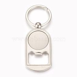 décapsuleurs en cabochon en alliage de zinc, résultats de lunette camée blanc, avec anneau en fer, plat rond, platine, plateau: 25 mm; 89 mm; 63x31x3.5 mm; 1 pc / box(AJEW-E038-04P)