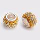Strass tchèque européen grosses perles rondelle 925 en argent sterling de trou(CPDL-F001-M)-2