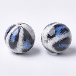 Perles acryliques imprimées, rond, bleu royal, 20x19mm, Trou: 2.5mm(MACR-T024-40B)