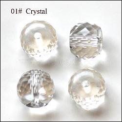 imitation perles de cristal autrichien, AAA grade, facettes, tambour, effacer, 8x6.5 mm, trou: 0.7~0.9 mm(SWAR-F064-8x6mm-01)