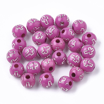 Plating Acrylic Beads, Silver Metal Enlaced, Round with Cross, Violet, 8mm, Hole: 2mm; about 1800pcs/500g(PACR-Q113-10C)