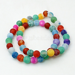 Natural Crackle Agate Beads Strands, Dyed, Round, Grade A, Mixed Color, 14mm, Hole: 1mm; about 28pcs/strand, 15.7inches