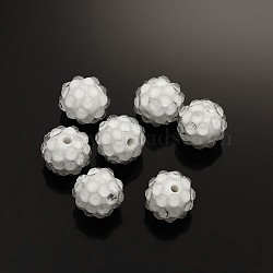Бусины со стразами из смолы, прозрачные стиле, круглые, белые, 12x10 мм, отверстие : 2 мм(RESI-S259-12mm-ST1)