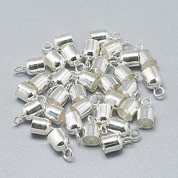 Enbouts de cordon en 925 argent sterling, argenterie, 8x4.5mm, trou: 1.5 mm; diamètre intérieur: 4 mm(STER-T002-221S)