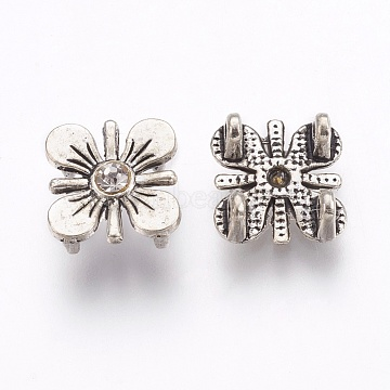 Tibetan Style Alloy Multi-Stand Links, with Rhinestone, Flower, Antique Silver, 13x12x5mm, Hole: 1.6mm(PALLOY-E450-13AS)