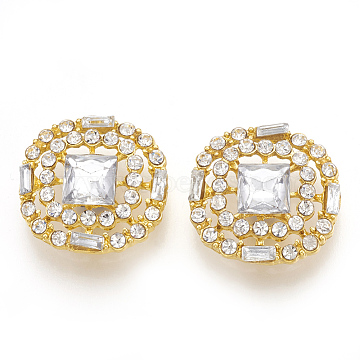 Alloy Rhinestone Shank Buttons, with Acrylic Rhinestone, Square, Golden, 23x22x6mm, Hole: 3mm(RB-T008-01G)