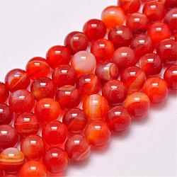 Natural Striped Agate/Banded Agate Bead Strands, Dyed & Heated, Round, Grade A, OrangeRed, 8mm, Hole: 1mm; about 48pcs/strand, 15.1inches(385mm)