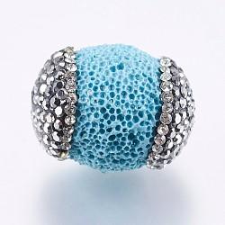 Perles de lave synthétiques et teintes, avec argile polymère strass, baril, bleu ciel, 15.5~19.5x13.5~15mm, Trou: 0.5mm(RB-P029-46A-01)