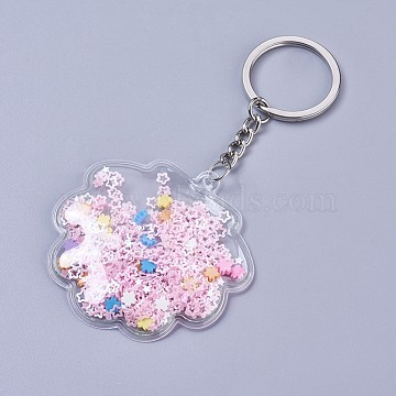 Plastic Keychain, with Paillette/Sequins, Iron Key Ring and Chain, Shell, Platinum, Pink, 117mm(KEYC-L025-J02)
