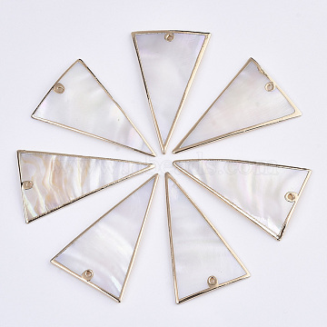 Natural Freshwater Shell Pendants, with Edge Brass Golden Plated, Triangle, Seashell Color, 49x31x3mm, Hole: 1.6mm(X-SSHEL-R045-11)