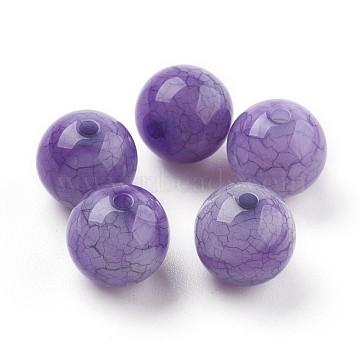 Crackle Acrylic Beads, Imitation Jade Beads, Round, Indigo, 9~9.5mm, Hole: 2mm(X-MACR-E025-20B-10mm)