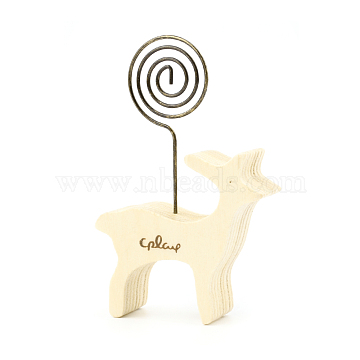 Wood Name Card Holder, Photo Memo Holders, with Iron Swirl Wire Clip, for Baby Shower, Wedding, Birthday Party Table Number Sign, Deer, Antique Bronze, Beige, Deer: 50.5x54x20mm; Swirl Wire Clip: 27x26.5x1.2mm(DJEW-F010-01B)