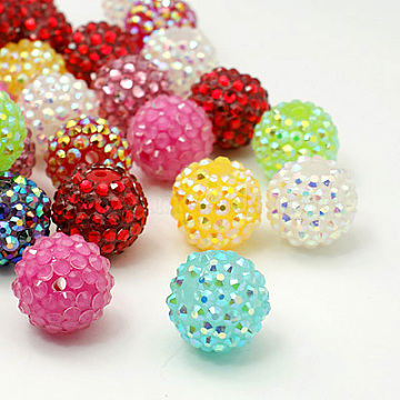 18mm Mixed Color Round Resin + Rhinestone Beads