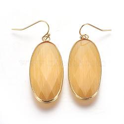 Boucles d'oreilles avec pendentif en laiton, avec la glace, ovale, or, orange, 54 mm; broches: 0.7 mm(EJEW-O083-03G-B)