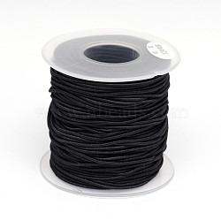 Round Elastic Cord Wrapped by Nylon Thread, Black, 0.8mm; about 50m/roll(EC-K001-0.8mm-01)