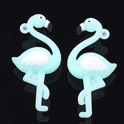 пвх пластиковые большие подвески, форма фламинго, paleturquoise, 57x27x16 mm, отверстия: 2 mm(SIL-S002-03D)