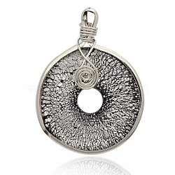 Donut Handmade Silver Foil Glass Big Pendants, with Platinum Plated Brass Findings, Black, 57~61x44~46x10mm, Hole: 5~7x4~5mm(PALLOY-J356-10B)