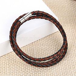 """Trois boucles PU bracelets d'emballage en cuir, avec boucle en laiton magnétique, colorées, 600 mm (23-3/4"""")(BJEW-FF0007-005D)"""
