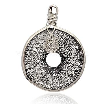 beignet à la main feuille d'argent verre grandes pendantss, avec les résultats en laiton de tonalité de platine, noir, 57~61x44~46x10 mm, trou: 5~7x4~5 mm(PALLOY-J356-10B)