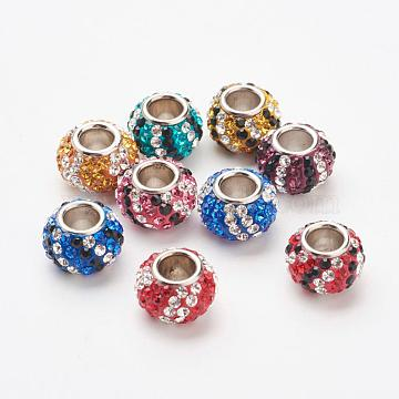 Austrian Crystal European Beads, Large Hole Beads, 925 Sterling Silver Core, Rondelle, Mixed Color, 11~11.5x7.5mm, Hole: 4.5mm(STER-E049-B)