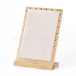Bamboo Necklace Display Stand, L-Shaped Long Chain Display Stand, Rectangle, Linen, 17.5x24.5cm(NDIS-E022-03)