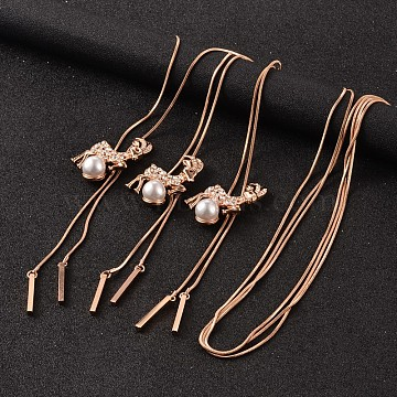 Deer Long Adjustable Alloy Rhinestone Lariat Necklaces, with Acrylic Pearl and Brass Snake Chain, Rose Gold, 38.6inches(NJEW-F194-03RG)