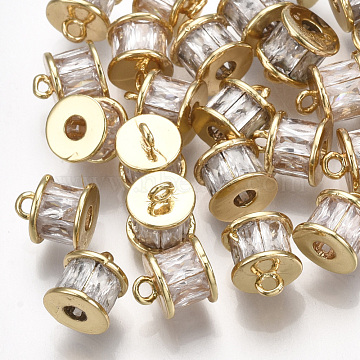 Real Gold Plated Clear Column Brass+Cubic Zirconia Charms