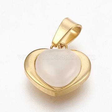 304 Stainless Steel Cat Eye Pendants, Heart, Golden, Seashell Color, 15x15x6.5mm, Hole: 4x5mm(X-STAS-F185-44G)